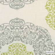 B. Berger - 72080-20 - Natural/Green  | Curtain & Upholstery fabric - Grey, Silver, Geometric, Medallion, Natural Fibre, Dry Clean, Natural, Print, Standard Width