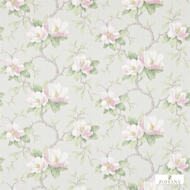 321448 'Magnolia' | Curtain & Upholstery fabric - Fire Retardant, Green, Farmhouse, Floral, Garden, Natural fibre, Pink - Purple, Domestic Use, Natural, Suitable for Blinds