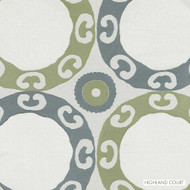 Highland Court - Hr61424-579 - Meridian - Peridot  | Curtain & Upholstery fabric - Fire Retardant, Fibre Blends, Medallion, Turquoise, Teal, Dots, Spots, Dry Clean, Circles