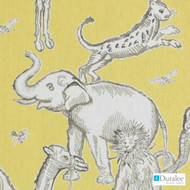 Duralee - Se42527-66 - Langdon - Yellow  | Curtain & Upholstery fabric - Gold,  Yellow, Linen and Linen Look, Natural Fibre, Toile, Animals, Animals - Fauna, Dry Clean, Print