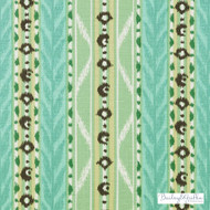 Bailey Griffin - 200008H-250 - Mahe - Sea Green  | Upholstery Fabric - Floral, Garden, Linen and Linen Look, Natural Fibre, Stripe, Turquoise, Teal, Dry Clean, Natural, Print
