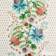 Bailey Griffin - 200014H-141 - Charmetie - Jewel    Curtain & Upholstery fabric - Blue, Red, Floral, Garden, Natural Fibre, Stripe, Tropical, Turquoise, Teal, Dry Clean, Print