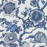 Bailey Griffin - 200018H-197 - Dumas - Marine  | Curtain & Upholstery fabric - Blue, Floral, Garden, Jacobean, Linen and Linen Look, Natural Fibre, Traditional, Dry Clean