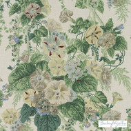 Bailey Griffin - 200020H-246 - Le Bambou - Aegean    Curtain & Upholstery fabric - Asian, Floral, Garden, Linen and Linen Look, Natural Fibre, Traditional, Turquoise, Teal