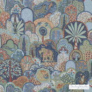 Bailey Griffin - 200021H-73 - Menagerie - Red/Blue  | Curtain & Upholstery fabric - Blue, Floral, Garden, Linen and Linen Look, Natural Fibre, Animals, Animals - Fauna, Print