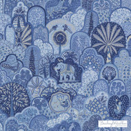 Bailey Griffin - 200021H-197 - Menagerie - Marine  | Curtain & Upholstery fabric - Blue, Floral, Garden, Linen and Linen Look, Natural Fibre, Animals, Animals - Fauna, Cats
