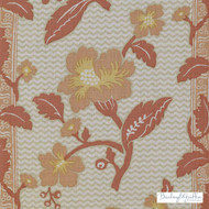 Bailey Griffin - 200022H-31 - La Grenade - Coral  | Curtain & Upholstery fabric - Terracotta, Floral, Garden, Linen and Linen Look, Natural Fibre, Stripe, Traditional, Print