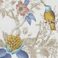 Bailey Griffin - Be42518-41 - Birds Of Eden - Blue/Turquoise    Curtain & Upholstery fabric - Blue, Gold,  Yellow, Silver, Teflon, White, Floral, Garden, Natural Fibre, Print