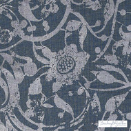 Bailey Griffin - Be42522-193 - Carlotta - Indigo    Curtain & Upholstery fabric - Blue, White, Floral, Garden, Linen and Linen Look, Natural Fibre, Traditional, Dry Clean