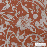 Bailey Griffin - Be42522-214 - Carlotta - Scarlet    Curtain & Upholstery fabric - Terracotta, Floral, Garden, Linen and Linen Look, Natural Fibre, Traditional, Dry Clean