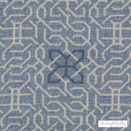 Bailey Griffin - Be42523-193 - Manchu Fret - Indigo    Curtain & Upholstery fabric - Blue, White, Geometric, Linen and Linen Look, Natural Fibre, Dry Clean, Natural, Print