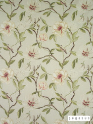 peg_39811-102 'Chintz' | Curtain Fabric - Green, White, Asian, Deco, Decorative, Farmhouse, Floral, Garden, Natural fibre, White, Domestic Use, Natural, Top of Bed