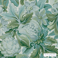 Bailey Griffin - Be42588-257 - Chateau De Blois - Moss    - Floral, Garden, Linen and Linen Look, Natural Fibre, Turquoise, Teal, Dry Clean, Natural, Print, Standard Width