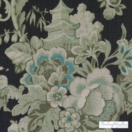 Bailey Griffin - Be42591-156 - Wenchow - Black/Green    - Blue, Asian, Black - Charcoal, Linen and Linen Look, Natural Fibre, Turquoise, Teal, Animals, Animals - Fauna, Print