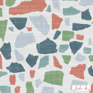 Lulu DK - Le42551-215 - Abstractions - Multi  | - Terracotta, Geometric, Linen and Linen Look, Natural Fibre, Turquoise, Teal, Abstract, Dry Clean, Natural, Standard Width