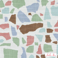 Lulu DK - Le42551-619 - Abstractions - Seaglass  | - Blue, Brown, Geometric, Linen and Linen Look, Multi-Coloured, Natural Fibre, Turquoise, Teal, Abstract, Dry Clean, Mosaic