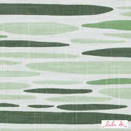 Lulu DK - Le42557-2 - Island - Green  | - Linen and Linen Look, Midcentury, Natural Fibre, Stripe, Abstract, Dry Clean, Natural, Print, Standard Width