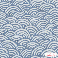 Lulu DK - Le42558-7 - Bungalow - Light Blue  | - Blue, Linen and Linen Look, Midcentury, Natural Fibre, Scale, Abstract, Dry Clean, Natural, Print, Standard Width