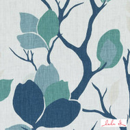 Lulu DK - Le42560-250 - Lyford - Sea Green  | - Blue, Fire Retardant, Floral, Garden, Linen and Linen Look, Midcentury, Natural Fibre, Turquoise, Teal, Dry Clean, Natural