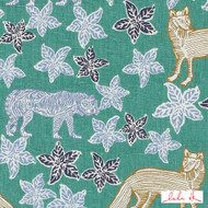 Lulu DK - Le42613-72 - Kipling - Blue/Green  | - Floral, Garden, Linen and Linen Look, Natural Fibre, Turquoise, Teal, Animals, Animals - Fauna, Dry Clean, Natural, Print