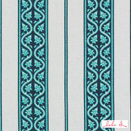 Lulu DK - Le42614-11 - Jagger - Turquoise  | - Linen and Linen Look, Natural Fibre, Stripe, Turquoise, Teal, Dry Clean, Natural, Print, Standard Width