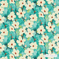 120144 '' | Curtain & Upholstery fabric - Blue, Fire Retardant, Farmhouse, Fiber blend, Floral, Garden, Harlequin, Domestic Use, Suitable for Blinds