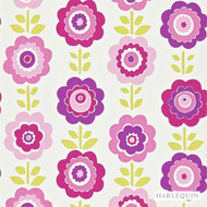 Harlequin Oopsie Daisy 110545  | Wallpaper, Wallcovering - Eclectic, Floral, Garden, Harlequin, Kids, Children, Medallion, Pink, Purple, Domestic Use