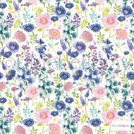 Bluebellgray - Florrie - Summer - 57227-101    Curtain & Upholstery fabric - Blue, Floral, Garden, Multi-Coloured, Natural Fibre, Natural, Top of Bed, Standard Width