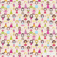 120218 'Friends' | Curtain & Upholstery fabric - Harlequin, Midcentury, Natural fibre, Washable, Kids, Children, Many-Coloured, Pink - Purple, Domestic Use, Natural
