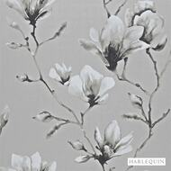 110880 'Lotus' | - Fire Retardant, Grey, Asian, Floral, Garden, Harlequin, Domestic Use, Chinoiserie - Chinoise