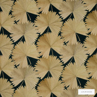 Linwood - Lf1980C_004 Midnight  | Curtain & Upholstery fabric - Gold,  Yellow, Floral, Garden, Natural Fibre, Pattern, Tropical, Natural, Print, Standard Width