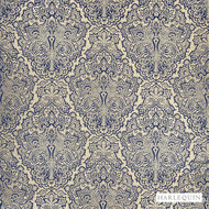 Harlequin Aurelia 130965  | Curtain & Upholstery fabric - Blue, Fire Retardant, Damask, Fiber blend, Harlequin, Traditional, Commercial Use, Domestic Use, FR Treatable