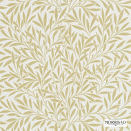 Morris and Co -  Willow 210384  | Wallpaper, Wallcovering - Fire Retardant, White, Farmhouse, Floral, Garden, Tan, Taupe, Commercial Use, Domestic Use, White