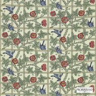 DMORTR203 'DMORTR203' | Curtain & Upholstery fabric - Fire Retardant, Green, Red, White, Art Noveau, Craftsman, Farmhouse, Floral, Garden, Natural fibre, Red, White