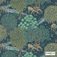 Morris and Co - The Brook 214887  | Wallpaper, Wallcovering - Blue, Art Noveau, Craftsman, Floral, Garden, Jacobean, Toile, Traditional, Animals, Animals - Fauna, Deer