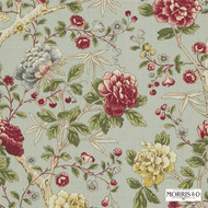 Morris and Co -  Tangley DMCOTA202  | Curtain & Upholstery fabric - Fire Retardant, Red, Floral, Garden, Jacobean, Multi-Coloured, Natural fibre, Traditional, Domestic Use, FR Treatable