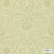 Morris and Co -  Sunflower Etch DMORSU105  | Wallpaper, Wallcovering - Beige, Fire Retardant, Art Noveau, Craftsman, Damask, Floral, Garden, Traditional, Transitional