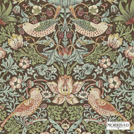 Morris and Co -  Strawberry Thief 212565  | Wallpaper, Wallcovering - Fire Retardant, Green, Art Noveau, Craftsman, Traditional, Many-Coloured, Animals, Domestic Use
