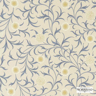 Morris and Co -  Scroll 220307  | Curtain & Upholstery fabric - Blue, Fire Retardant, Art Noveau, Craftsman, Floral, Garden, Natural fibre, Traditional, Domestic Use