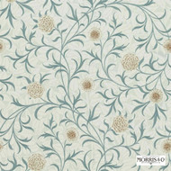 Morris and Co -  Scroll 210362  | Wallpaper, Wallcovering - Blue, Fire Retardant, Art Noveau, Craftsman, Floral, Garden, Traditional, Domestic Use