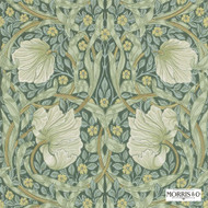 Morris and Co -  Pimpernel 210389  | Wallpaper, Wallcovering - Fire Retardant, Green, Art Noveau, Craftsman, Floral, Garden, Commercial Use, Domestic Use
