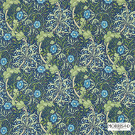 Morris and Co -  Morris and Co -  Seaweed 224472  | Curtain & Upholstery fabric - Blue, Fire Retardant, Art Noveau, Craftsman, Floral, Garden, Natural fibre, Many-Coloured
