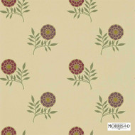 Morris and Co -  Morris and Co -  Rose DMOWMO103  | Wallpaper, Wallcovering - Brown, Fire Retardant, Gold - Yellow, White, Craftsman, Floral, Garden, White, Domestic Use