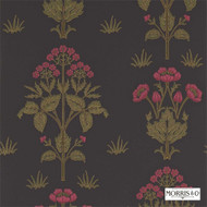 Morris and Co -  Meadow Sweet 210352  | Wallpaper, Wallcovering - Black, Fire Retardant, Green, Craftsman, Floral, Garden, Jacobean, Traditional, Black - Charcoal