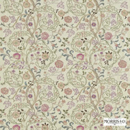 Morris and Co -  Mary Isobel Embroideries 230339  | Curtain Fabric - Fire Retardant, Craftsman, Fiber blend, Floral, Garden, Jacobean, Traditional, Pink - Purple, Domestic Use