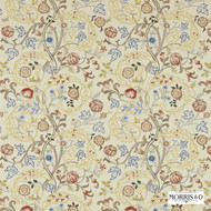 Morris and Co -  Mary Isobel Embroideries 230340  | Curtain Fabric - Fire Retardant, Gold,  Yellow, Craftsman, Fiber blend, Floral, Garden, Jacobean, Traditional, Domestic Use, Embroidery
