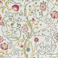 Morris and Co -  Mary Isobel DMCOMA204  | Curtain & Upholstery fabric - Black, Brown, Fire Retardant, Green, Grey, White, Art Noveau, Craftsman, Floral, Garden, Jacobean