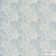 Morris and Co -  Marigold 220321  | Curtain & Upholstery fabric - Blue, Fire Retardant, Art Noveau, Craftsman, Floral, Garden, Natural fibre, Domestic Use, FR Treatable, Natural