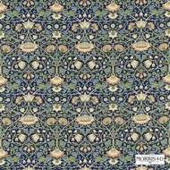 Morris and Co -  Lodden 222521  | Curtain & Upholstery fabric - Blue, Fire Retardant, Art Noveau, Craftsman, Damask, Floral, Garden, Natural fibre, Traditional, Natural