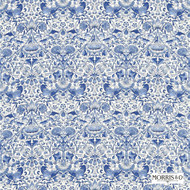 222523 '' | Curtain & Upholstery fabric - Blue, Fire Retardant, Art Noveau, Craftsman, Damask, Floral, Garden, Natural fibre, Traditional, Domestic Use, Natural